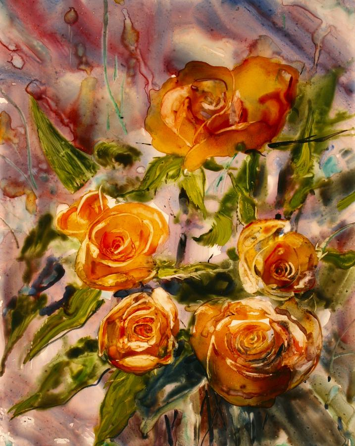 Apricot Roses Painting