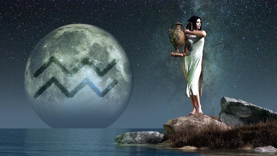Aquarius Digital Art - Aquarius Zodiac Symbol by Daniel Eskridge