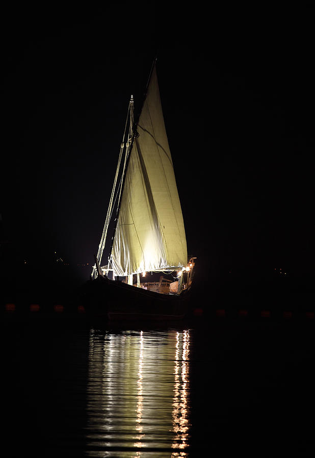 Dhow Photograph - Arab Dhow At Night by Paul Cowan