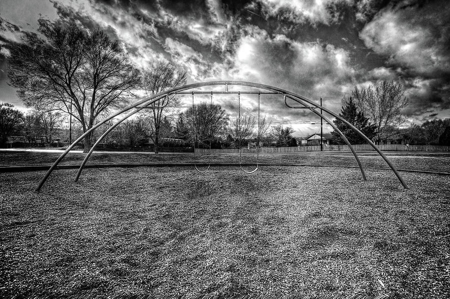 Arch Swing Set In The Park 76 In Black And White Photograph
