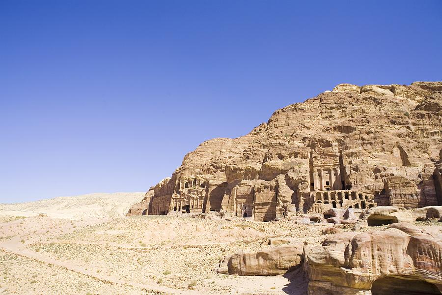Horizontal Photograph - Archaeological Remains Of Petra  Unesco World Heritage Site Jordan, Middle East by Gallo Images