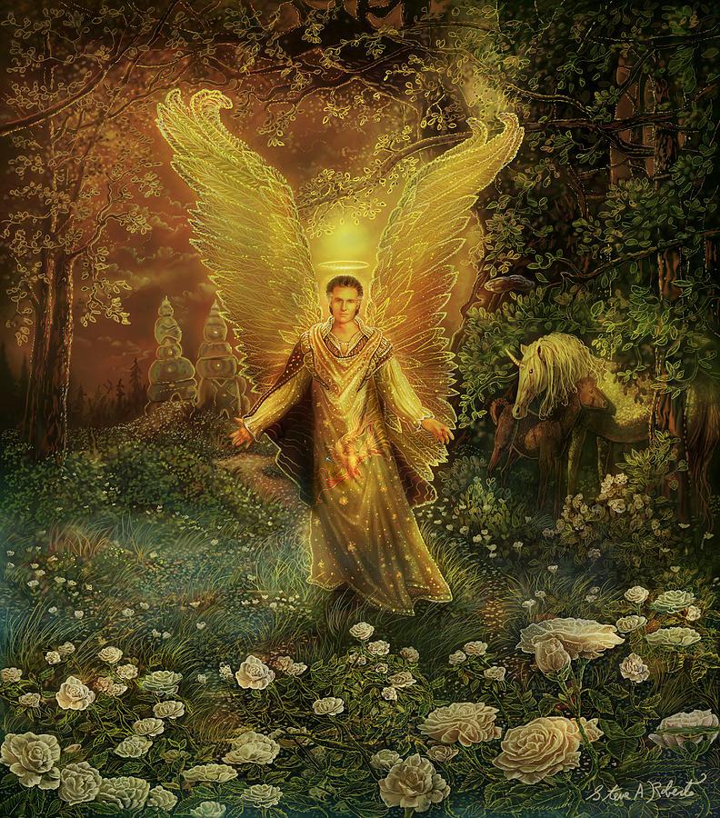 Angel Painting - Archangel Azrael by Steve Roberts