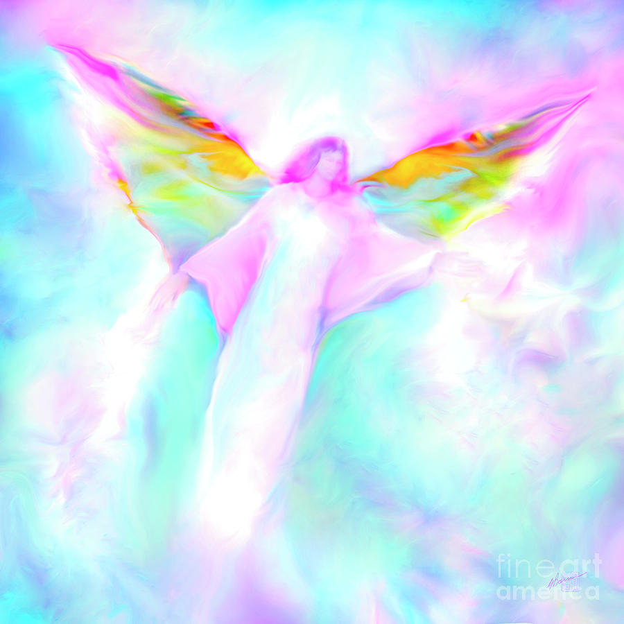 Angels Painting - Archangel Gabriel In Flight by Glenyss Bourne