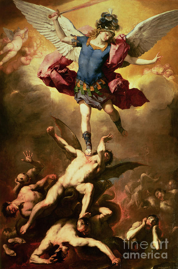 Archangel Michael Overthrows The Rebel Angel Painting