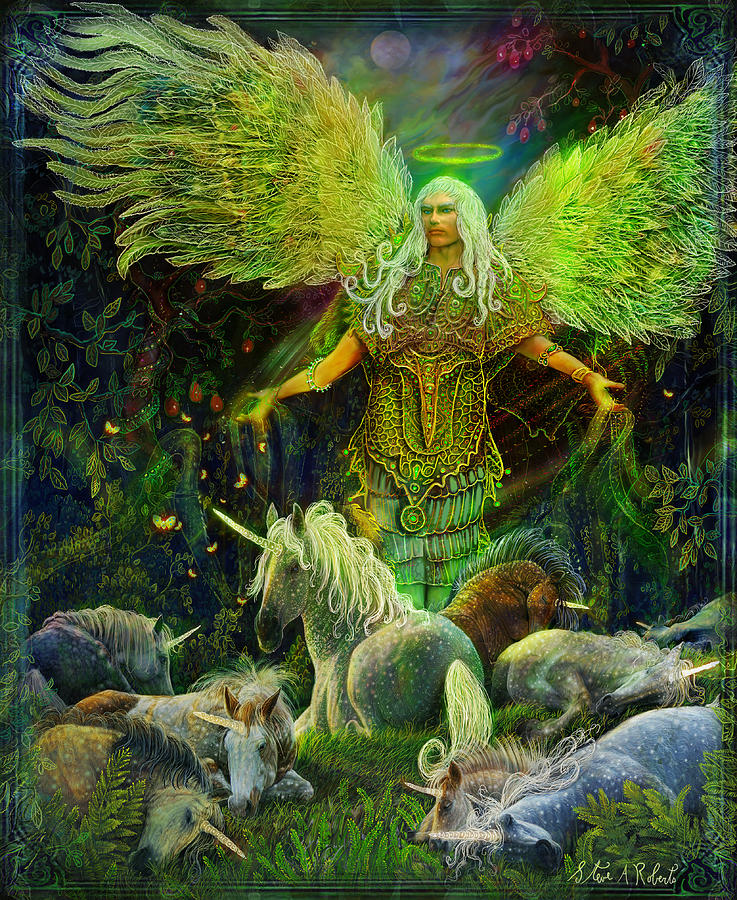 Angel Painting - Archangel Raphael Protector Of Unicorns by Steve Roberts
