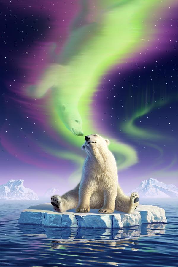 Polar Bear Digital Art - Arctic Kiss by Jerry LoFaro
