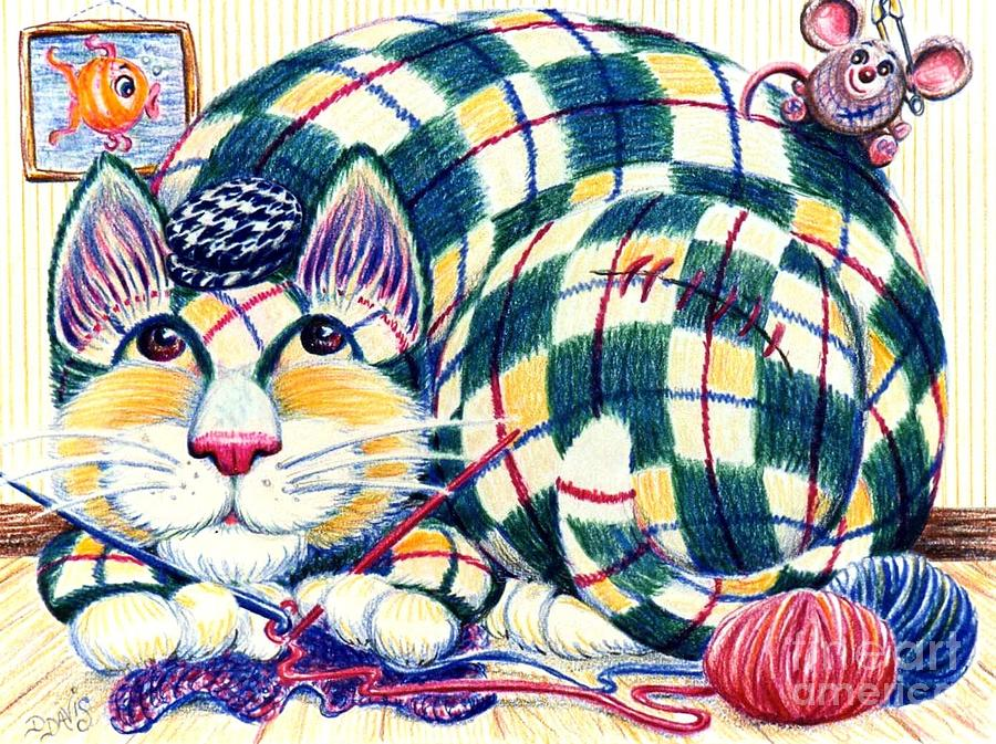Cat Drawing - Argyle by Dee Davis
