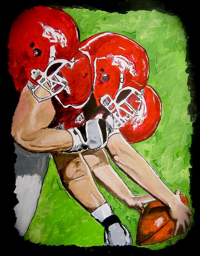 Arkansas Painting Painting - Arkansas Razorbacks Football by Carol Blackhurst