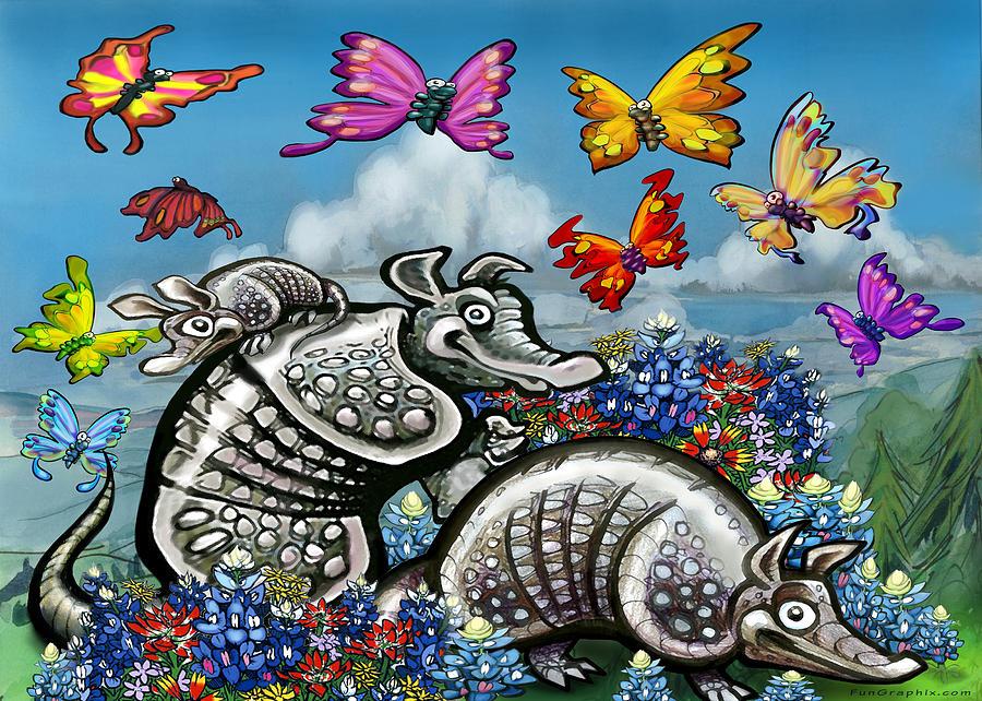 Armadillos Bluebonnets And Butterflies Digital Art
