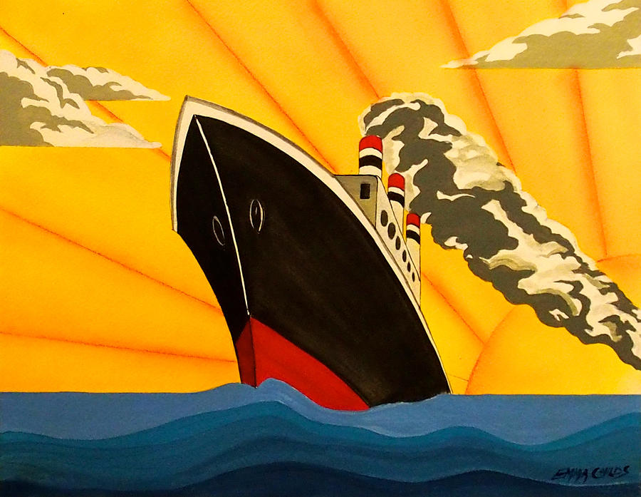 Art Deco Boat Painting By Emma Childs