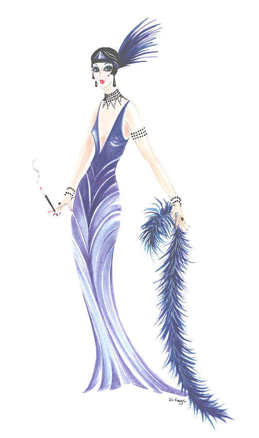 Art Deco Lady - Miranda Painting by Di Kaye