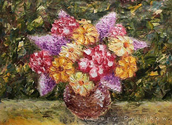 Vase Flowers Painting - Art Gallery. Flower Painting Vase Flowers 129. Impressionism Oil Painting by Valery Rybakow