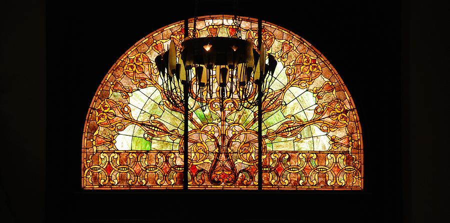 Union Station In Nashville Photograph - Artful Stained Glass Window Union Station Hotel Nashville by Susanne Van Hulst