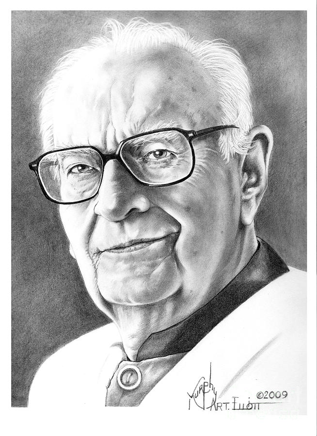 Portrait Drawing - Arthur C. Clarke by Murphy Elliott