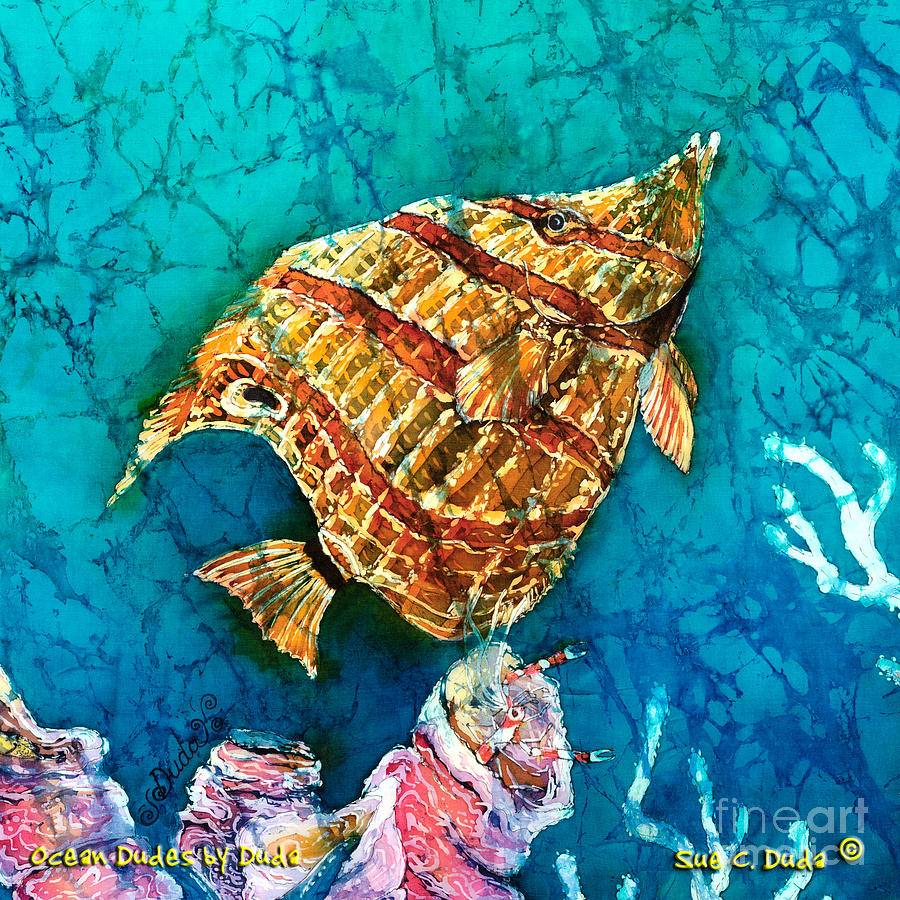 Beaked Butterflyfish Painting - Ascending by Sue Duda