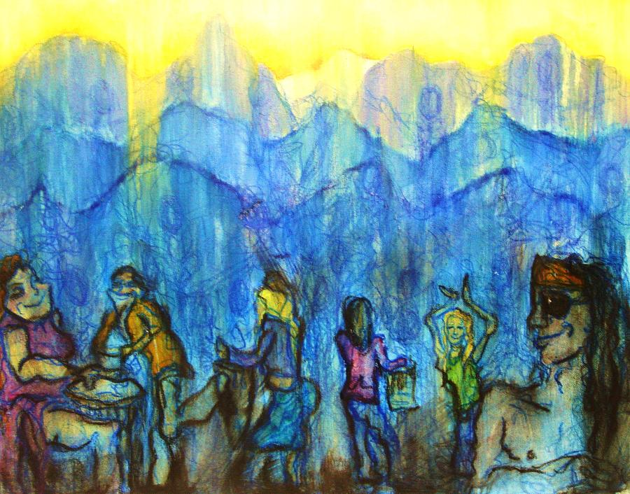 Asheville Painting - Asheville Drum Circle by Lizzie  Johnson