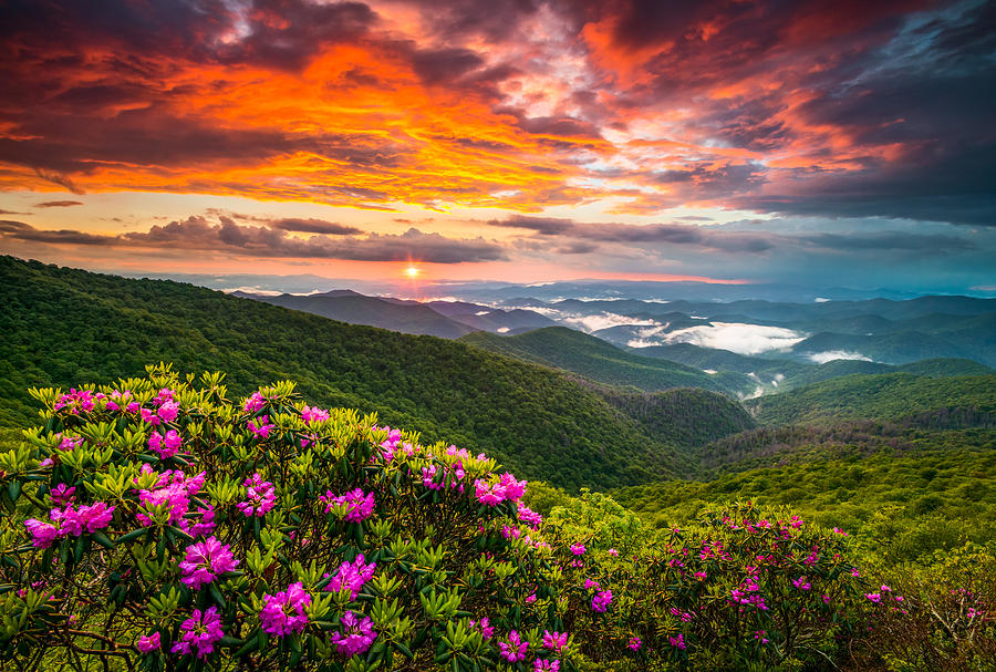Asheville North Carolina Blue Ridge Parkway Scenic Sunset