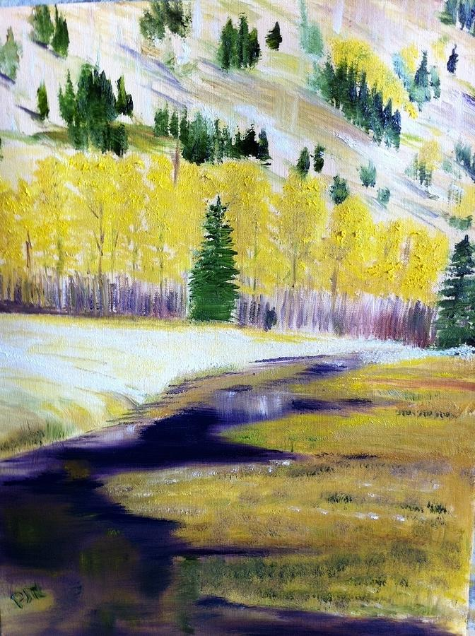 Aspen Creek Painting By Peggy Rockey