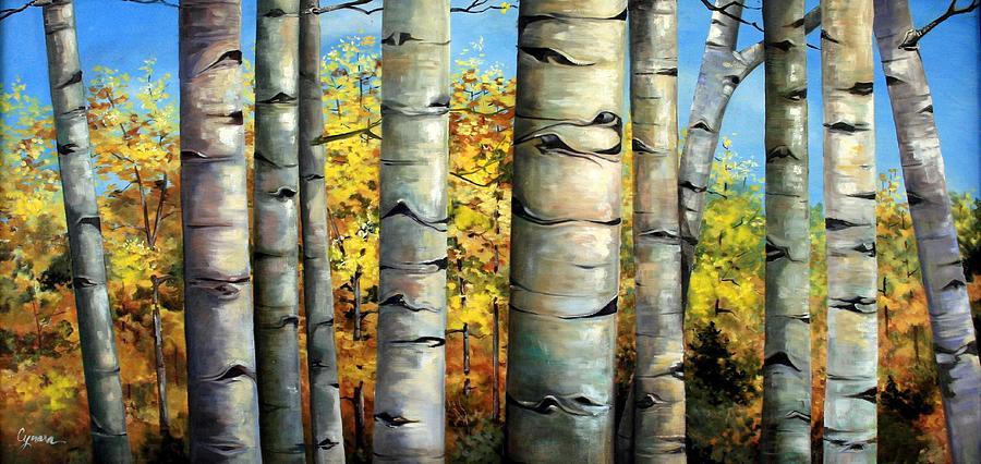 Aspens Painting - Aspen Eyes by Cynara Shelton