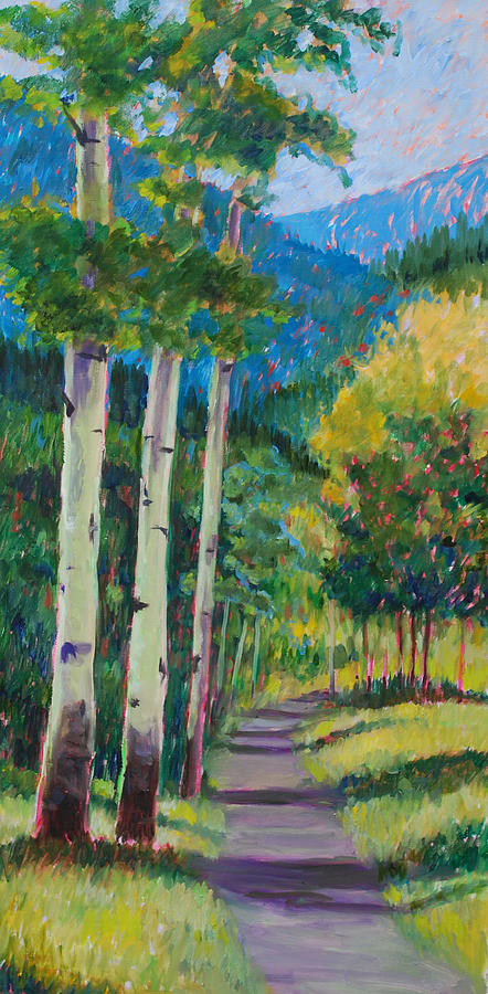 Aspen Tree Art Painting - Aspen Trails by Billie Colson