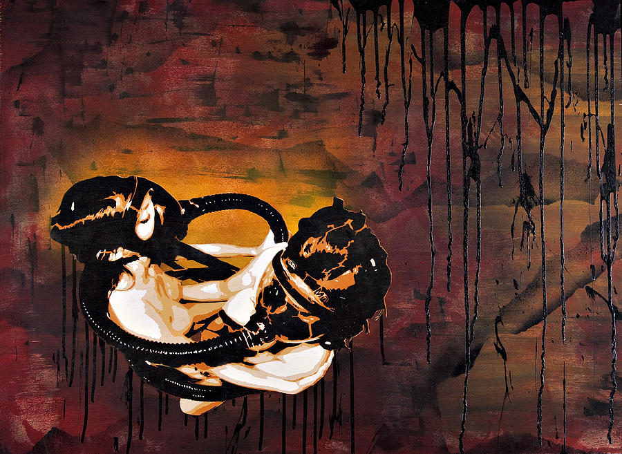 Created With Acrylic Painting - Asphyxiation By Oil Dependency by Tai Taeoalii