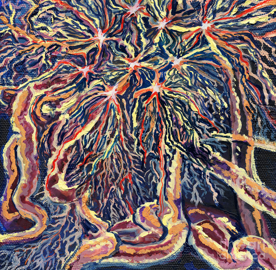 Biology Painting - Astrocytes Microbiology Landscapes Series by Emily McLaughlin