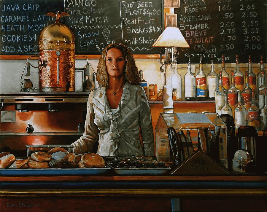 Doug Strickland Painting - At The Coffee Mill by Doug Strickland