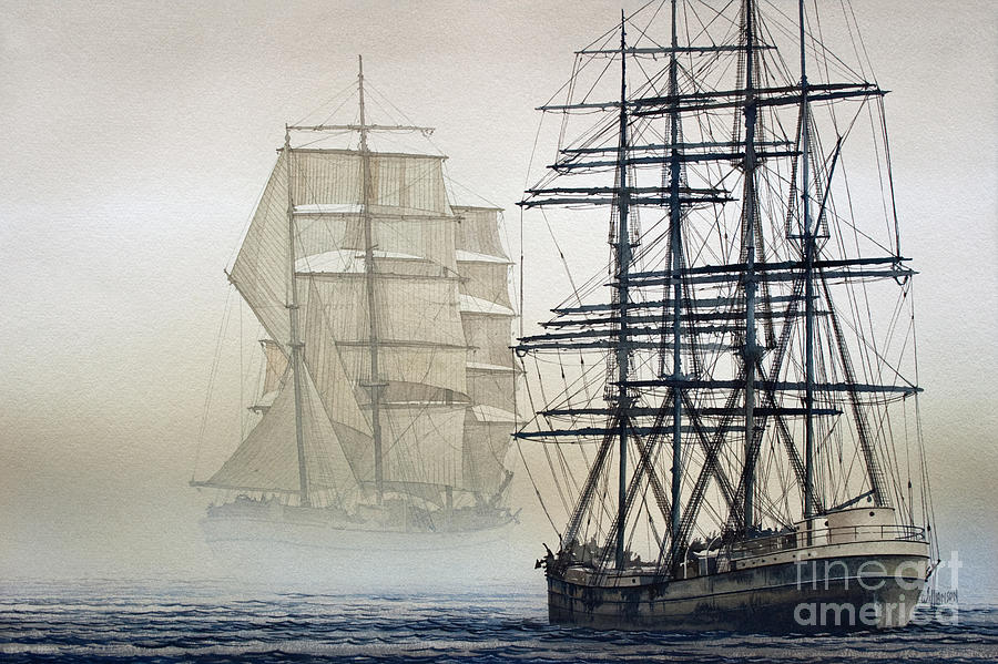 Tall Ship Print Painting - Atlas And Inverclyde by James Williamson