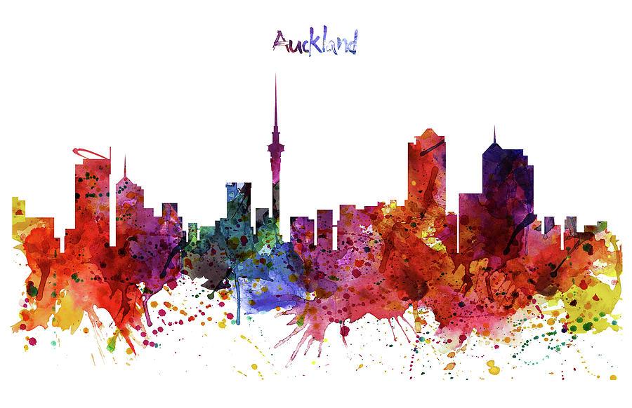 Auckland Watercolor Skyline Digital Art By Marian Voicu