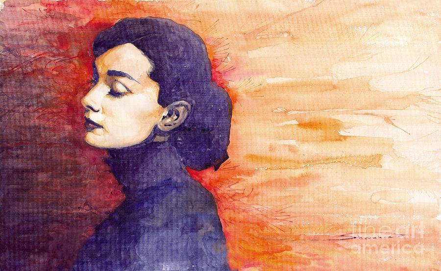 Watercolour Painting - Audrey Hepburn 1 by Yuriy  Shevchuk