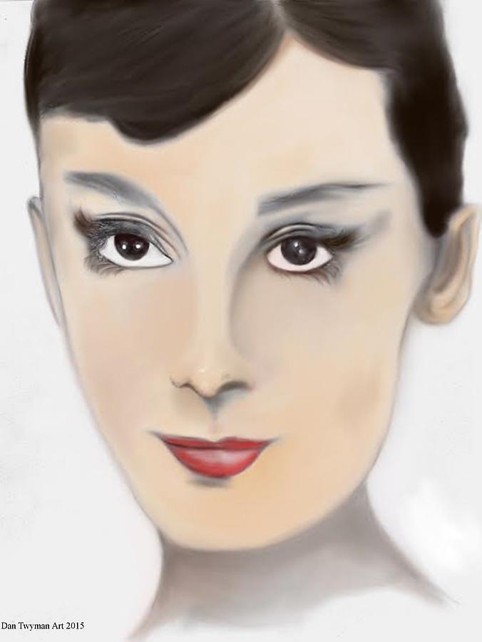 Audrey Hepburn Drawing - Audrey Hepburn Color by Dan Twyman