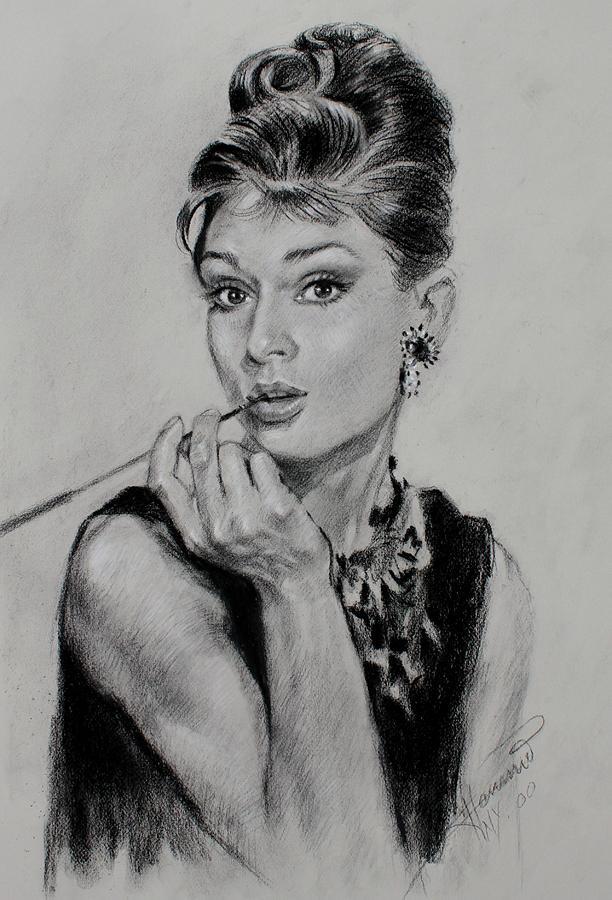 Audrey Hepburn Drawing - Audrey Hepburn by Ylli Haruni