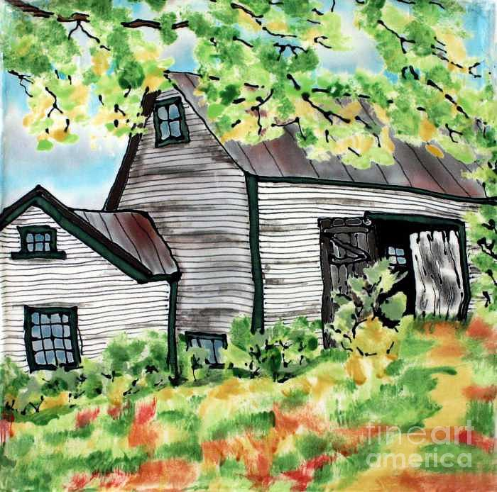 Silk Painting Painting - August Barn by Linda Marcille