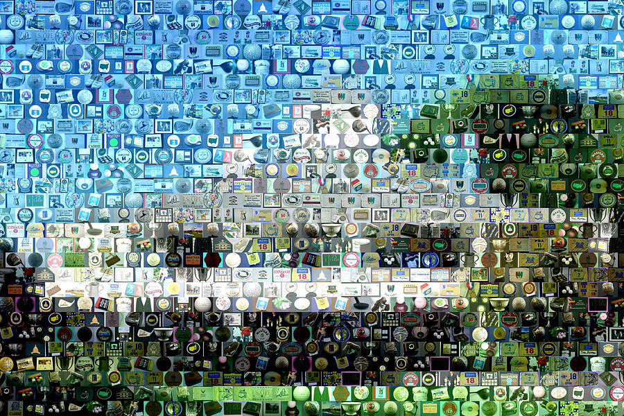Golf Mixed Media - Augusta National Clubhouse Mosaic by Paul Van Scott