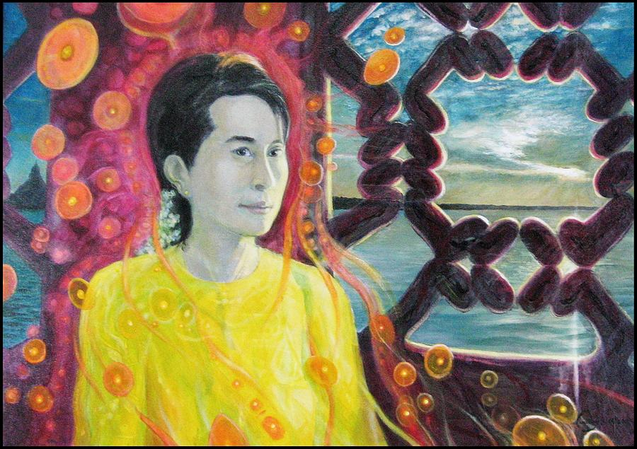 Aung San Suu Kyi Painting - Aung San Suu Kyi by A Coudry
