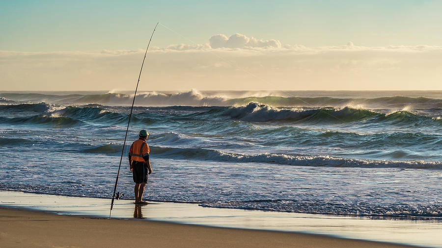 Aussie Surf Fisherman Photograph