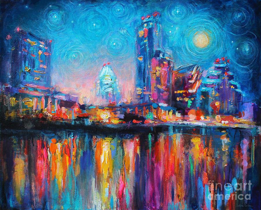 Austin Art Impressionistic Skyline Painting #2 Painting by Svetlana Novikova