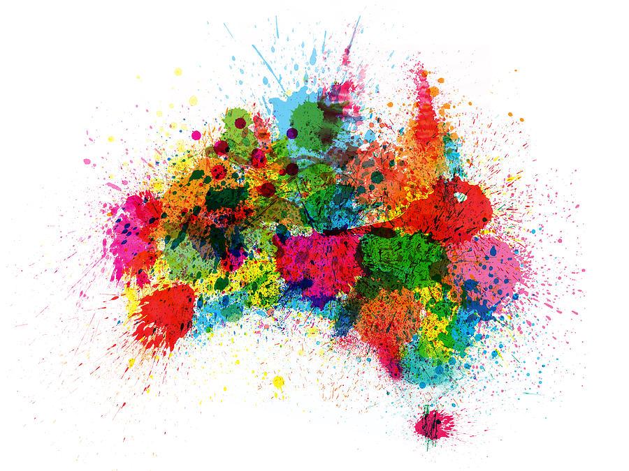Australia Digital Art - Australia Paint Splashes Map by Michael Tompsett