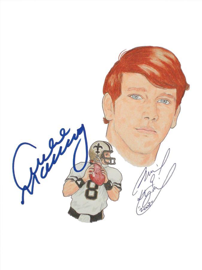 Autographed Archie Manning Portrait Drawing