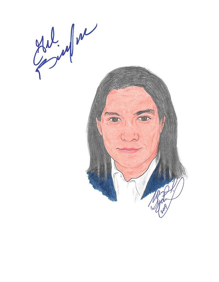 Autographed Drawing - Autographed Gil Birmingham by Michael Dijamco
