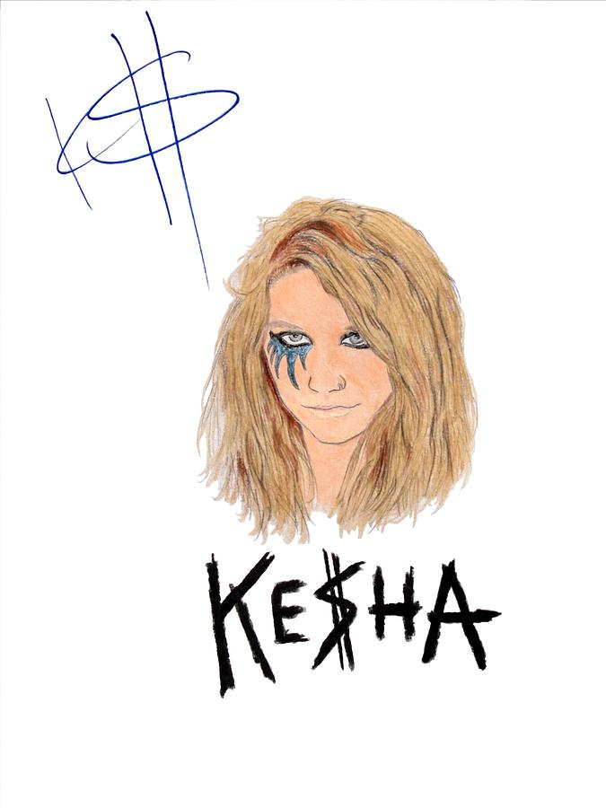 Autographed Kesha Drawing - Autographed Kesha  by Michael Dijamco