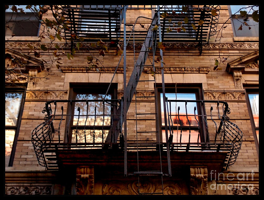 Autumn balcony new york city fire escape photograph by for New york balcony view