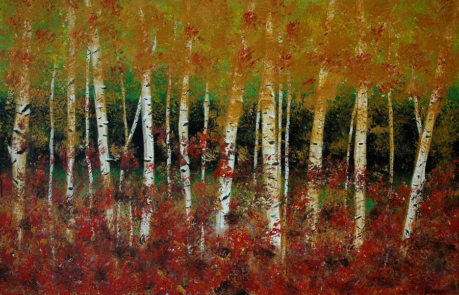 Autumn Birch Painting