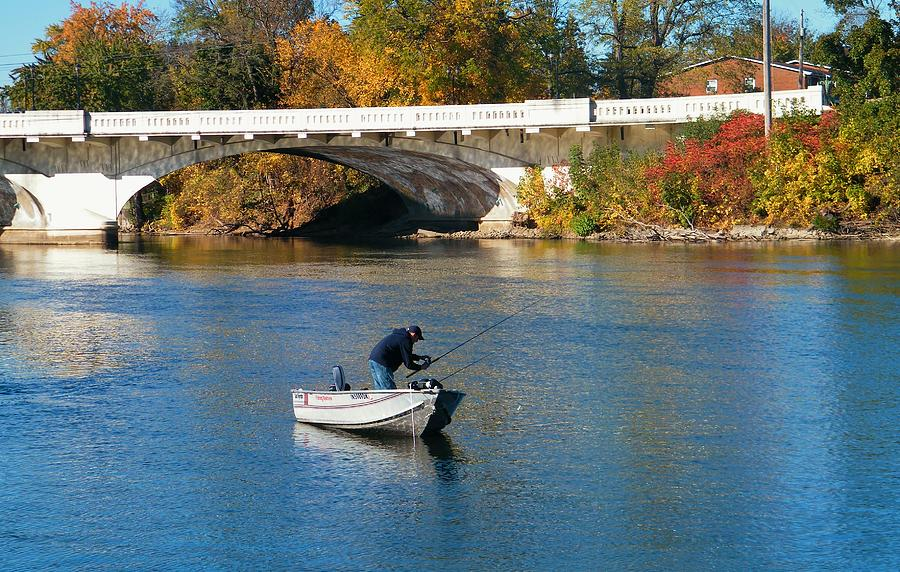 Autumn boat fishing st joseph river indiana photograph by for St joseph river fishing