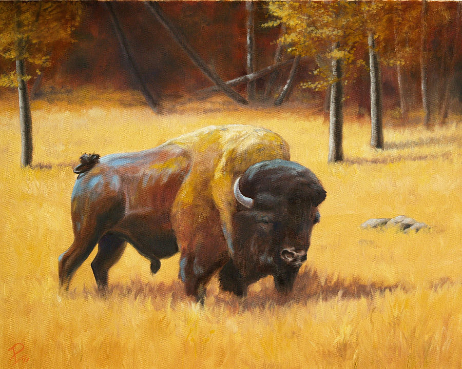 Bison Painting - Autumn Bull by Patrick Entenmann