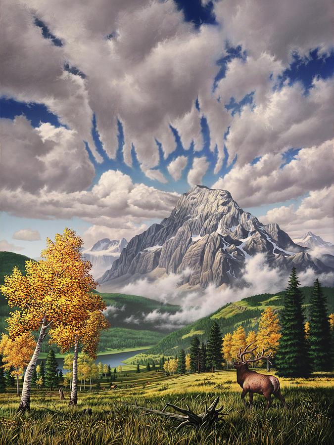 Elk Painting - Autumn Echos by Jerry LoFaro