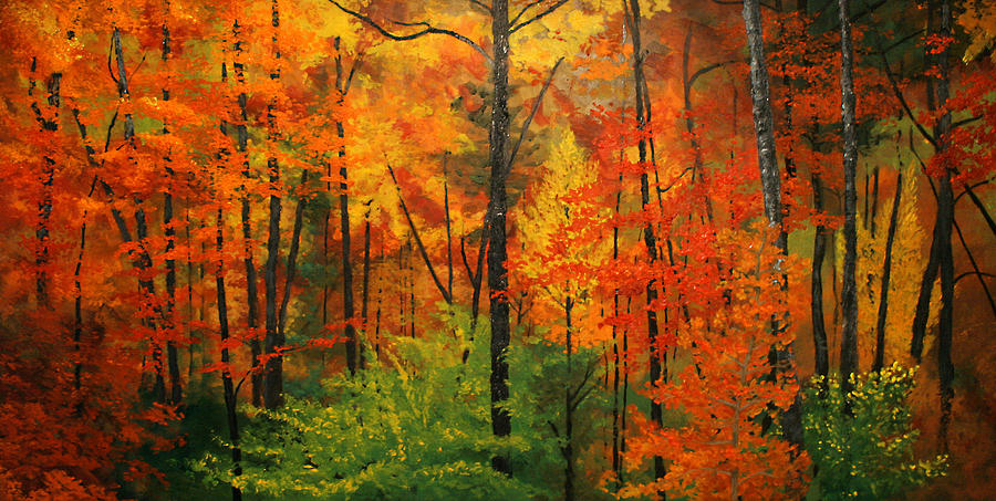 Autumn Forest Painting By Alan Schwartz