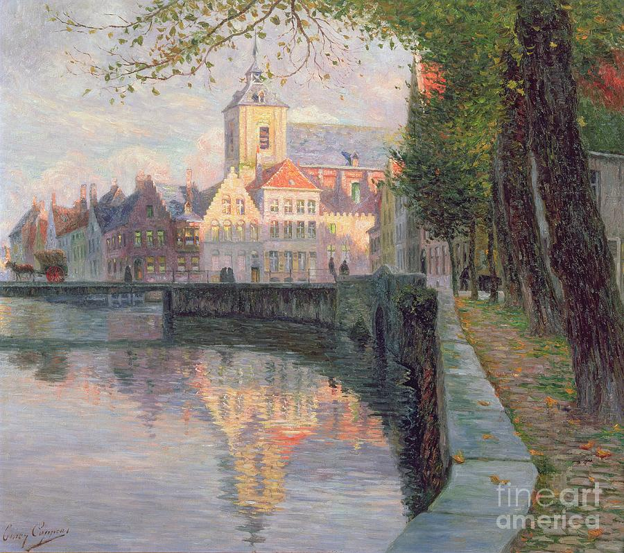 Autumn In Bruges (oil On Panel) By Omer Coppens (1864-1926) Painting - Autumn In Bruges by Omer Coppens