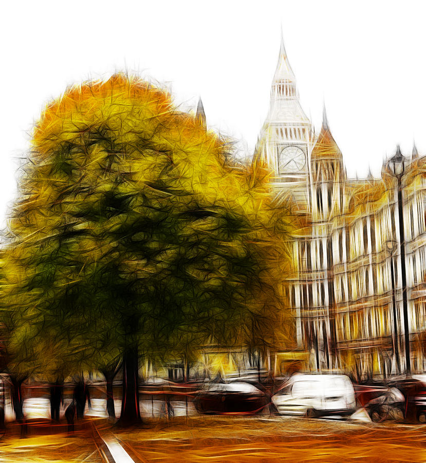 Autumn London Tree Trees Big Ben Westminster Parliament Street Yellow Leaves Leaf Expressionism Painting Painting - Autumn In London by Stefan Kuhn