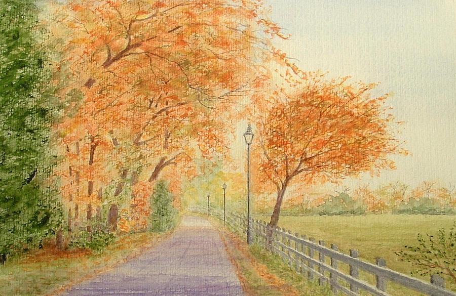 Watercoloiur  Landscape  Autumn  Painting Sold Painting - Autumn Lane - Royden Park, Wirral by Peter Farrow